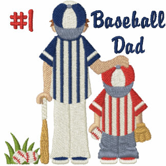 #1 Baseball Dad and Child Embroidered Hoody