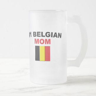 #1 Belgian Mom Frosted Glass Mug