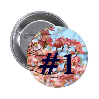 1 Button custom Pink Dogwood Flowers Blue Sky