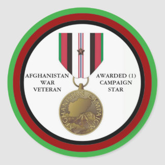 1 CAMPAIGN STAR AFGHANISTAN WAR VETERAN ROUND STICKER