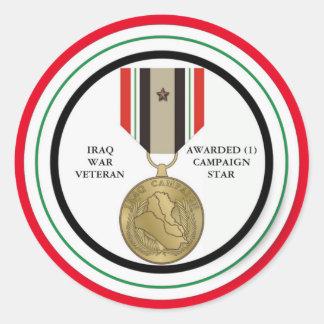 1 CAMPAIGN STAR IRAQ WAR VETERAN ROUND STICKER