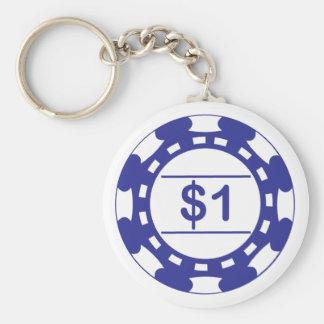 $1 Casino Chip Blue Keychain