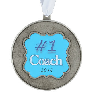 #1 COACH Ornament Scalloped Pewter Christmas Ornament