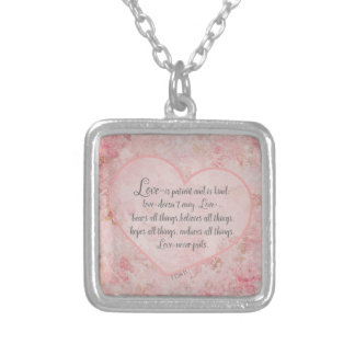 1 Cor 13 - Love is Patient Love is Kind Silver Plated Necklace