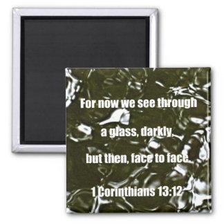 1 Corinthians 13:12 Square Magnet