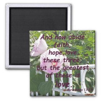 1 Corinthians 13:13 Square Magnet