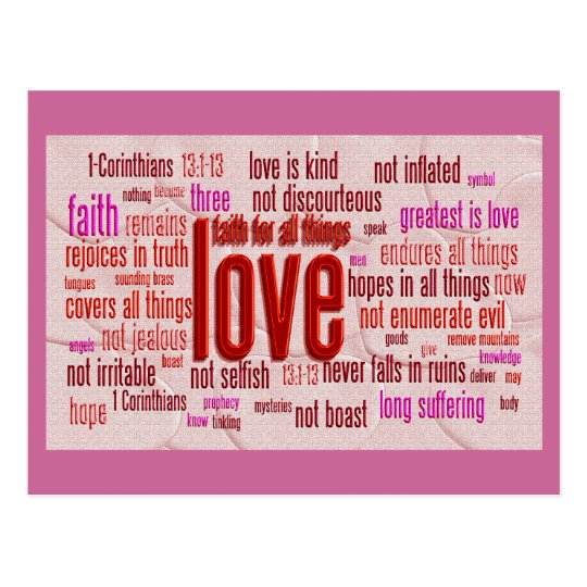 1 Corinthians 13:1-13 Heart Cloth Postcard