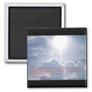 1 Corinthians 13:4 6-7  Clouds Square Magnet