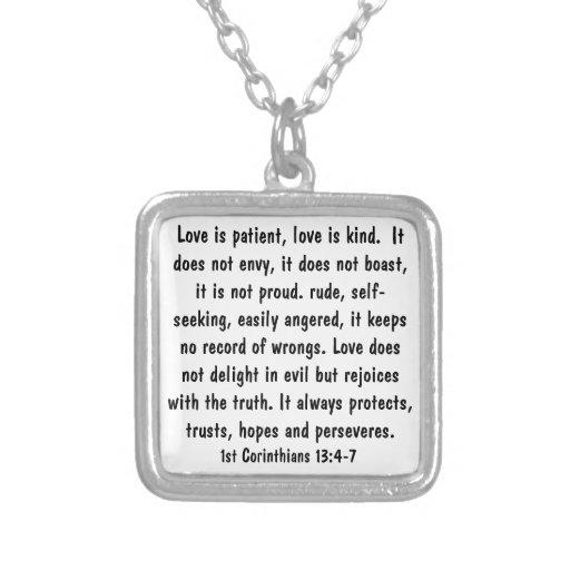 1 Corinthians 13:4-7 Bible Verse Necklace