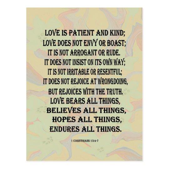 1 Corinthians 13 Wedding Invitations: 1 Corinthians 13:4-7 Love Postcard