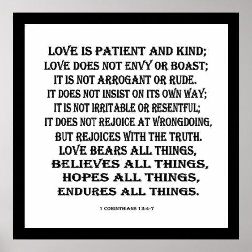 1 Corinthians 13:4-7 love Poster