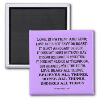 1 Corinthians 13:4-7 true love Square Magnet