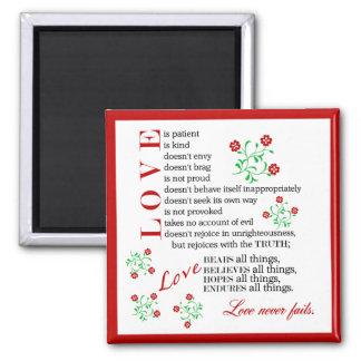 1 Corinthians 13 4-8   Love Never Fails Square Magnet