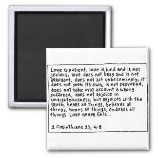 1 Corinthians 13 4-8 Square Magnet