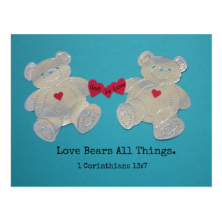 1 Corinthians 13:7 Love bears all things. Postcard