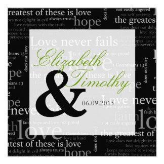 1 Corinthians 13 Black & White Wedding - Green Invites