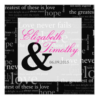1 Corinthians 13 Black & White Wedding - Pink Custom Invite