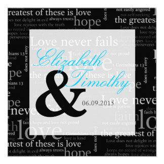 1 Corinthians 13 Black & White Wedding - Teal Personalized Invite