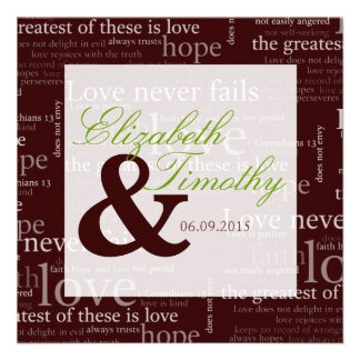 1 Corinthians 13 Brown & White Wedding - Green Personalized Announcements