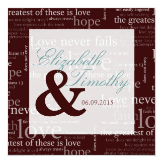 1 Corinthians 13 Brown & White Wedding - Teal Personalized Invitation