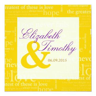1 Corinthians 13 Gold & White Wedding - Purple Custom Invite