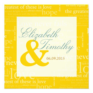 1 Corinthians 13 Gold & White Wedding - Teal Personalized Announcements