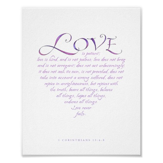 1 Corinthians 13 Heart Shaped Print