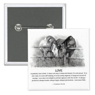 1 Corinthians 13: Love, Horses in Pencil 15 Cm Square Badge