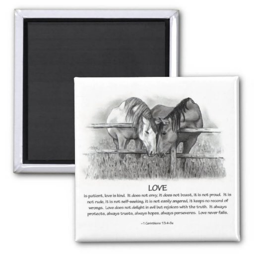 1 Corinthians 13: Love, Horses in Pencil Magnet