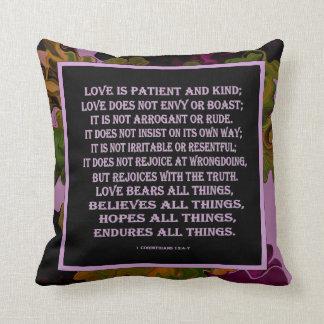 1 Corinthians 13 love is Throw Cushion