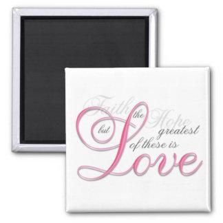 1 Corinthians 13, Pink Square Magnet
