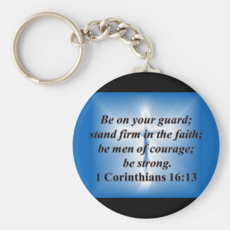 1 Corinthians 16:13 Basic Round Button Key Ring