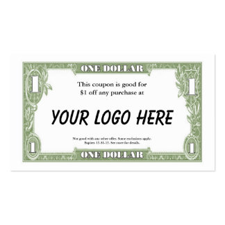 $1 Coupon Card Pack Of Standard Business Cards