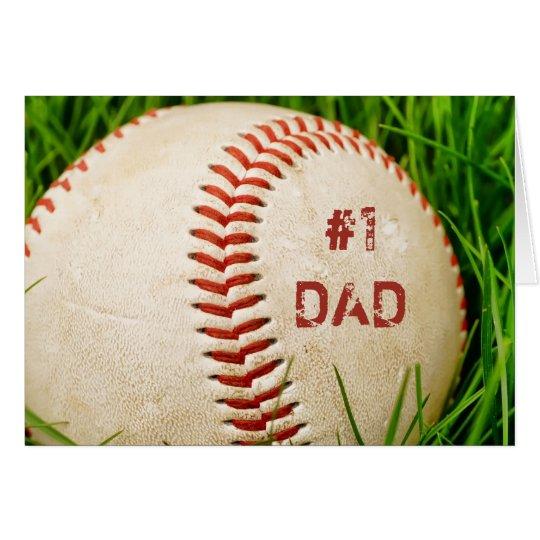 #1 Dad Baseball Greeting Card