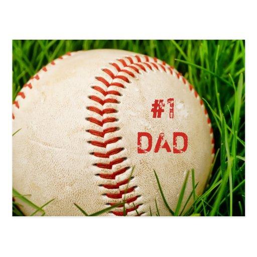 #1 Dad Baseball Postcard