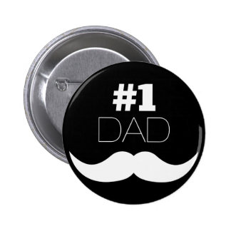 #1 Dad Black and White Mustache - Number One 6 Cm Round Badge