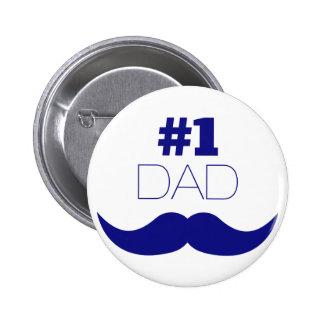 #1 Dad Blue Mustache - Number One 6 Cm Round Badge