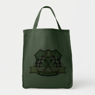 #1 Dad Father's Day Race Fan Tote Bags