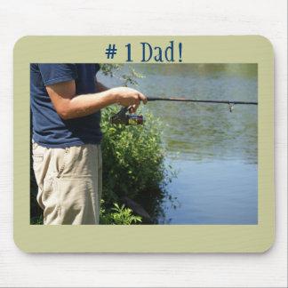 # 1 Dad!, Fishing man Mousepads