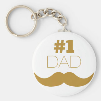 #1 Dad Gold Mustache - Number One Basic Round Button Key Ring