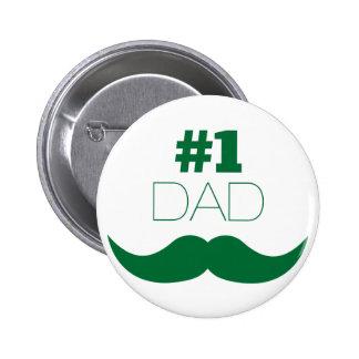 #1 Dad Green Mustache - Number One 6 Cm Round Badge