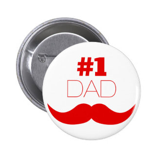 #1 Dad Red Mustache - Number One 6 Cm Round Badge