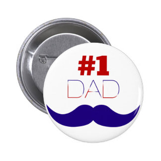 #1 Dad Red White and Blue Mustache - Number One 6 Cm Round Badge
