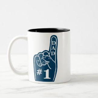 #1 Dad Sports Fan Hand in Navy Two-Tone Mug