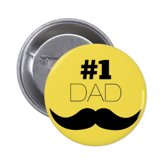 #1 Dad Yellow Mustache - Number One 6 Cm Round Badge