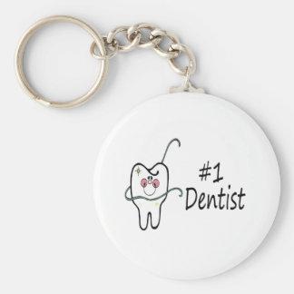 #1 Dentist Basic Round Button Key Ring