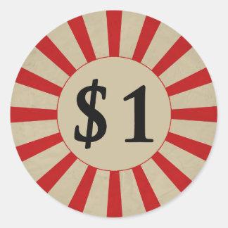 $1 (Dollar) Round Glossy Price Tag Round Sticker