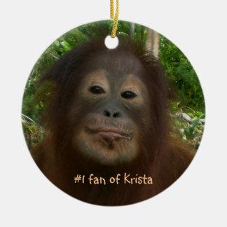 #1 fan of Krista Orangutan Christmas Ornament
