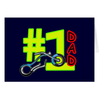 #1 Father's Day Chopper Dad Cyan The MUSEUM Zazzle Greeting Card