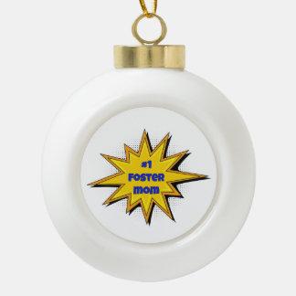 #1 Foster Mom Super Hero Design Ceramic Ball Christmas Ornament